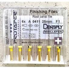Протейперы машинные уп.6шт, 25мм F1 (Protaper), Dentsply Maillefer F1. Оригинал, высокое качество!
