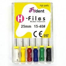 Профайлы FlyDent H-Files NITI 25 mm 15-40# 6шт.